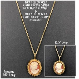 Jewelry - 18KT/14KT Yellow Gold Cameo Necklace